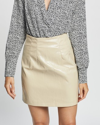 Glamorous Women's Neutrals Leather skirts - Vinyl Mini Skirt - Size 8 at The Iconic