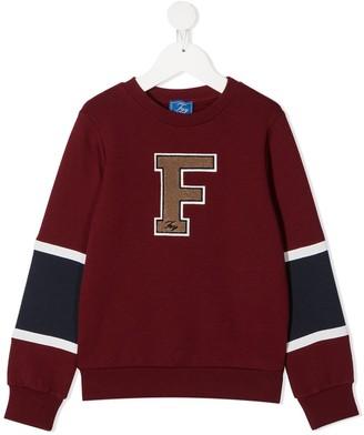 Fay Kids Textured Monogram Cotton Sweatshirt