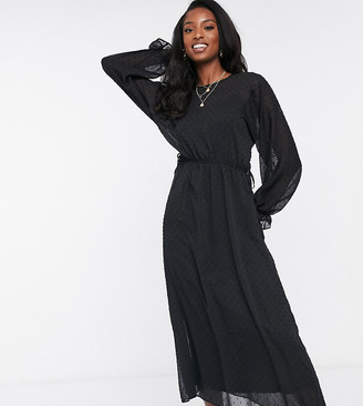 Asos Tall ASOS DESIGN Tall batwing midi dress with drawstring waist in dobby in black