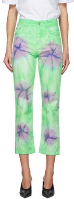 MSGM Green Tie-Dye Sport Jeans