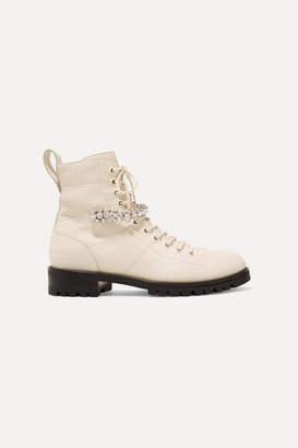 Jimmy Choo Cruz Crystal-embellished Textured-leather Ankle Boots - Ivory
