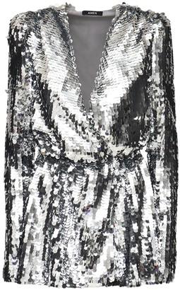 Amen V Neck Maxi Sequins Mini Dress