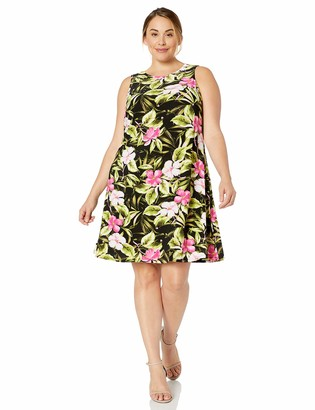 Kasper Women's Plus Size Sleeveless Jewel Neck Hibiscus Floral Knit Dress