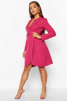 boohoo Wrap Belted Blazer Dress