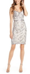 Tadashi Shoji Illusion Strap Sequin Lace Cocktail Dress