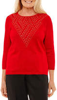 Alfred Dunner Embellished Yoke Sweater