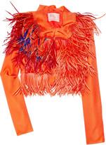Roksanda Ilincic Pheonix feather-embellished cropped silk jacket