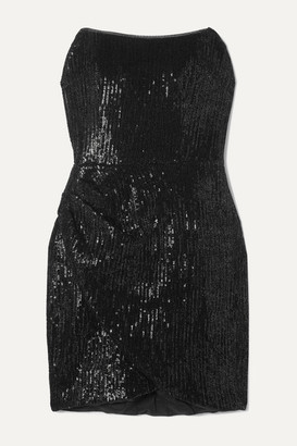 HANEY Olivia Strapless Sequined Jersey Mini Dress - Black