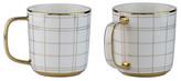 10 Strawberry Street Gold Plaid Mug - Set of 2