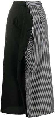 MM6 MAISON MARGIELA Stripe Panel Mid-Length Skirt