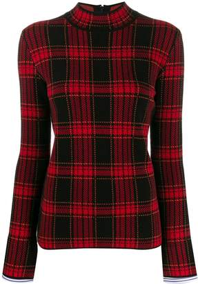 Juun.J mock-neck plaid knit top