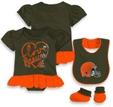 NFL Cleveland Browns Size 24M 3-Piece Girl Creeper Bib and Bootie Set