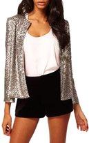 Pink Wind Women's Full Sleeve Sequins Paillette Blazer Jacket Clubwear