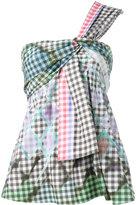 Peter Pilotto one shoulder gingham top - women - Cotton/Spandex/Elastane - 8