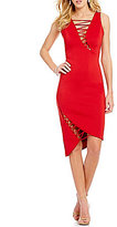 GUESS Devri Sleeveless Asymmetrical Lace-Up Sheath Dress