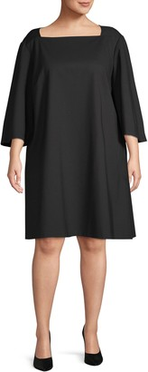 Lafayette 148 New York Plus Bell-Sleeve A-Line Dress