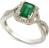 Macy's Emerald (1 ct. t.w.) and Diamond (1/4 ct. t.w.) Twist Ring in 14k White Gold