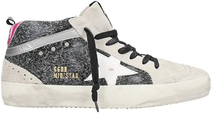 Golden Goose Mid Star Black Leather Sneakers