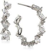 Carolee Silver-Tone Marquise Crystal Hoop Earrings