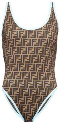 Fendi Contrast-trim Ff-logo Swimsuit - Womens - Light Blue