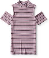 Striped Cold-Shoulder Mock-Neck Top