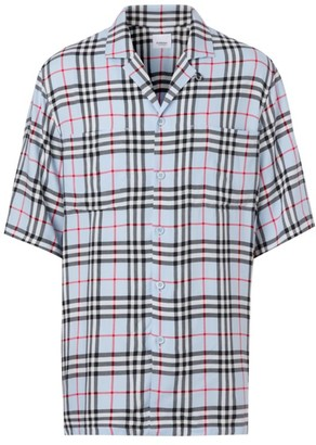 Burberry Short-Sleeve Casual Plaid Pocket Shirt