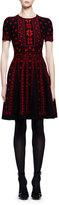 Alexander McQueen Short-Sleeve Rose Jacquard A-Line Dress, Black/Red