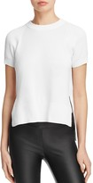 DKNY Ribbed-Detail Short Sleeve Crewneck Sweater