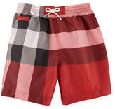 Burberry Saxon Check Swim Trunks, Red, Size 6M-3