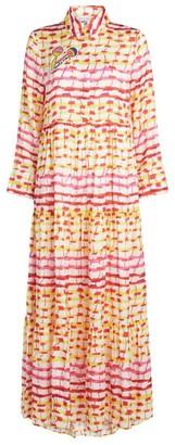 Mira Mikati Sunset Grid Print Maxi Dress