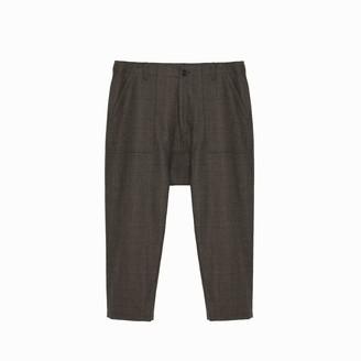 Maverick Drop Crotch Trouser In Camel Plaid