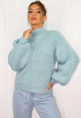 Missguided Blue Exposed Seam Rib Knitted Jumper