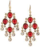 Carolee Gold-Tone Red Stone and Crystal Chandelier Earrings