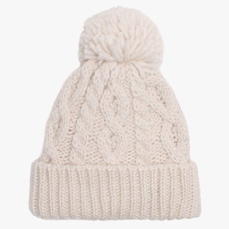 Little Red Cream Marino Pom Pom Hat
