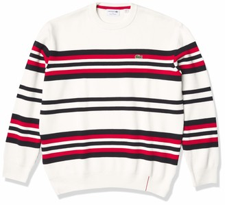 Lacoste Men's Long Sleeve Made in France Striped Crewneck Sweater