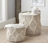 Pottery Barn Kids Winter Bohemian Wool Basket - Small White w/ Silver Metallic
