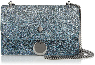 Jimmy Choo FINLEY Silver and Dusk Blue Fireball Glitter Degrade Cross Body Mini Bag