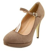Journee Collection Shelby Open Toe Synthetic Platform Heel.