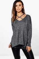 Boohoo Petite Emily Glitter Knit Plunge Strappy Jumper