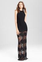 Josie Natori Crepe Halter Dress With Punch Needle Lace