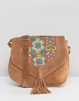 Park Lane Suede Cross Body Bag With Embroidery And Tassel Detail