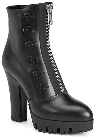 Miu Miu Leather Front-Zip Platform Ankle Boots