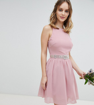 TFNC Petite Petite Embellished Midi Bridesmaid Dress with Full Prom Skirt-Pink