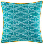Kas Crossroad Teal Square Cushion