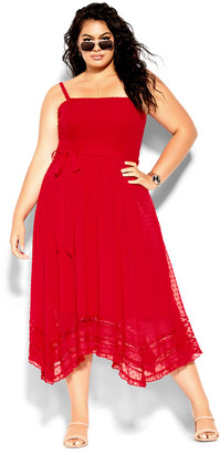 City Chic Flirty Nature Dress - red