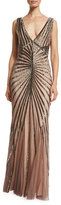 Rachel Gilbert Isla Sleeveless Beaded Tulle Column Gown, Brown