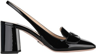 Prada Logo Plaque Slingback Pumps