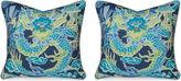 Miles Talbott Collection S/2 Dragon 19.5x19.5 Pillows, Navy