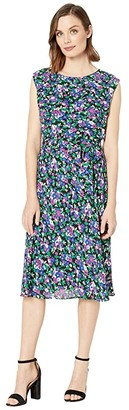 Lauren Ralph Lauren Georgette Cap-Sleeve Dress (Polo Black Multi) Women's Clothing