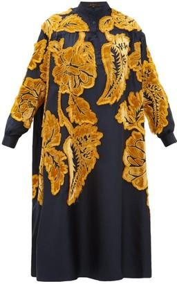 Biyan Liga Floral Velvet-applique Silk-satin Dress - Womens - Navy Multi